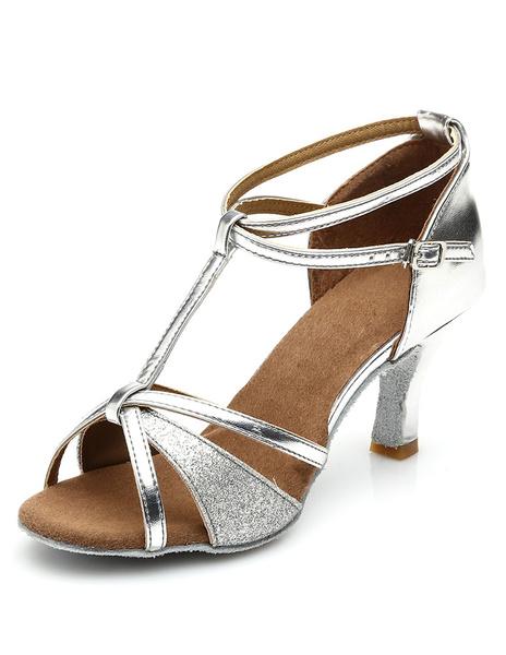 Milanoo Black Latin Dance Shoes PU Straps Heels