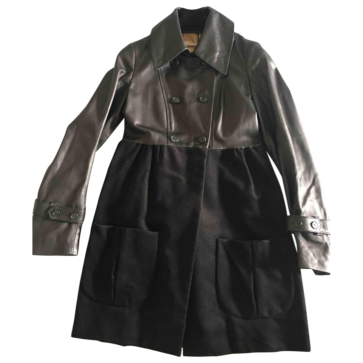 Non Signé / Unsigned \N Black Leather coat for Women 42 IT