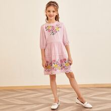 Girls Guipure Lace Insert Floral Embroidered Dress