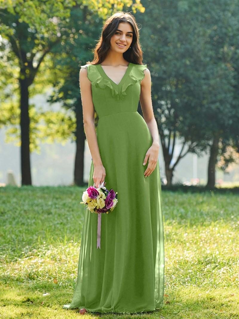 Ericdress V-Neck Ruffles A-Line Bridesmaid Dress