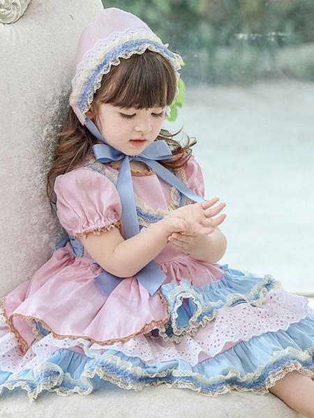 Milanoo Children\'s Sweet Lolita Dress Headwear Pink Short Sleeve Blue Bow Ruffles Polyester Kids Princess One Piece Dress
