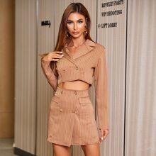 Double Button Striped Crop Blazer & Wrap Skirt Set