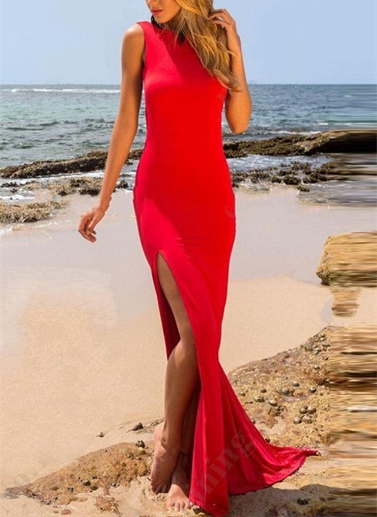 Sleeveless Split-Front Floor-Length Bateau Evening Dress