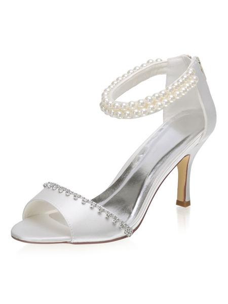 Milanoo Satin Wedding Shoes Satin Ivory Peep Toe Pearls Stiletto Heel 3.1 Bridal Shoes