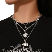 Star & Cloud Layered Chain Necklace