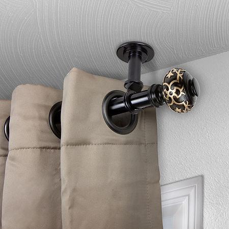 Rod Desyne Maple Ceiling Curtain Rod, One Size , Black