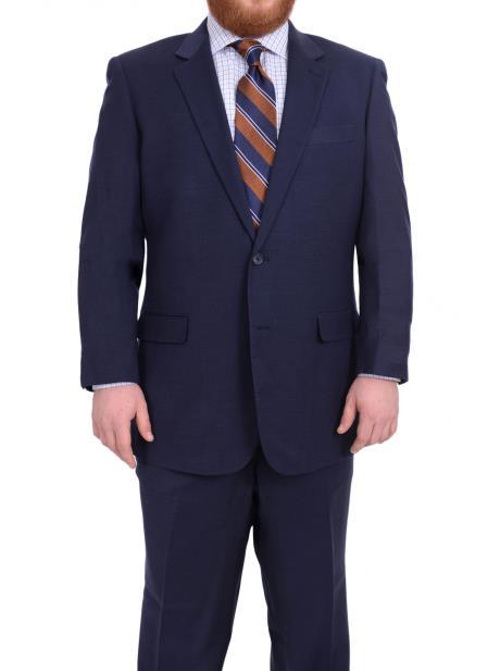 Mens Notch Lapel Super 130's Wool TexturedPortly Fit Blue 2Button Suit