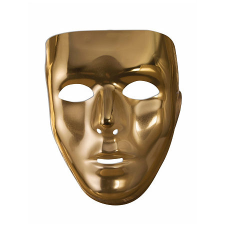 Gold Face Mask Dress Up Accessory, One Size , Yellow