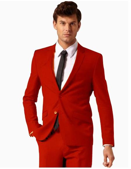 Mens 2 Button Style Suit Flat Front Pants Red
