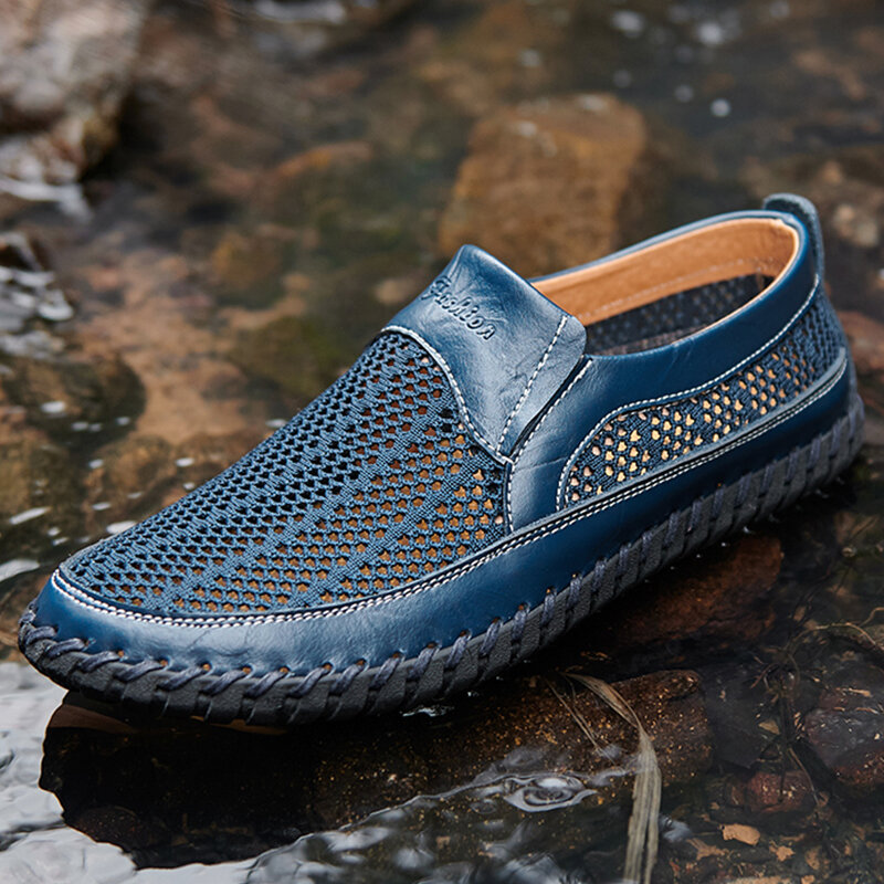 Men Mesh Hand Stitching Non Slip Outdoor Slip On Casual Shoes
