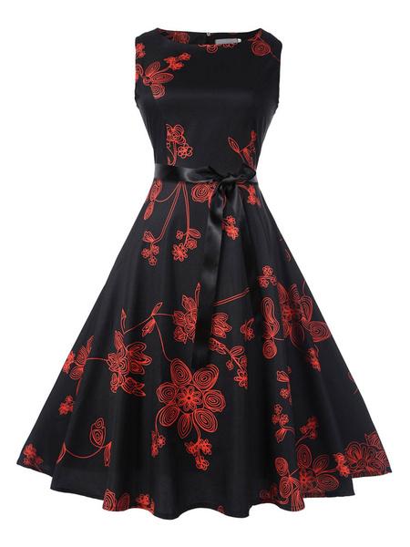 Milanoo Black Vintage Dress 1950s Printed Sleeveless Sash Slim Fit Summer Swing Dress