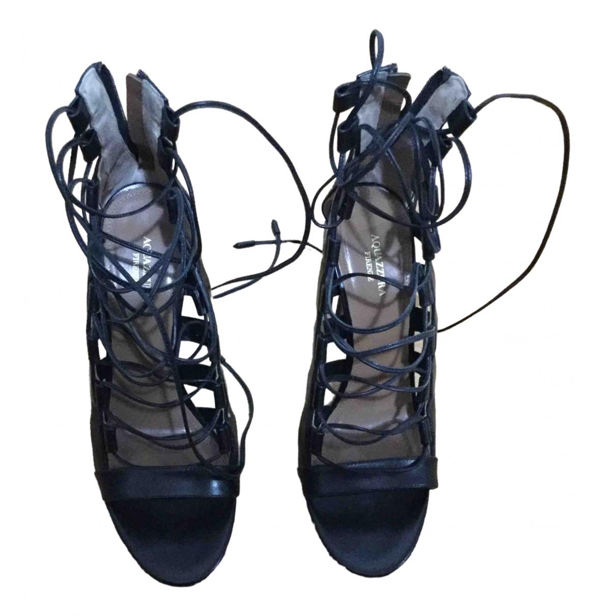 Aquazzura \N Black Leather Sandals for Women 37.5 EU