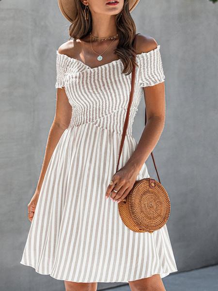 Milanoo Vestido de verano Rayas de cuello bateau Vestido de playa celeste claro