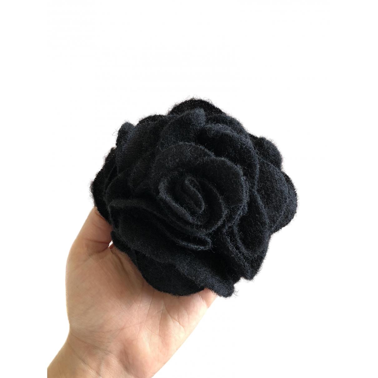 - Broche Motifs Floraux pour femme en toile - noir
