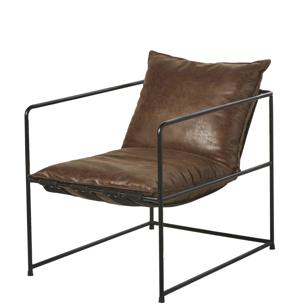 Sessel braun in Alt-Optik und Metall, schwarz Donovan