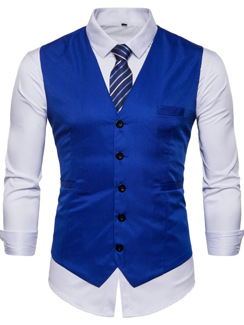 Ericdress V-Neck Plain Button Winter Mens Casual Waistcoat
