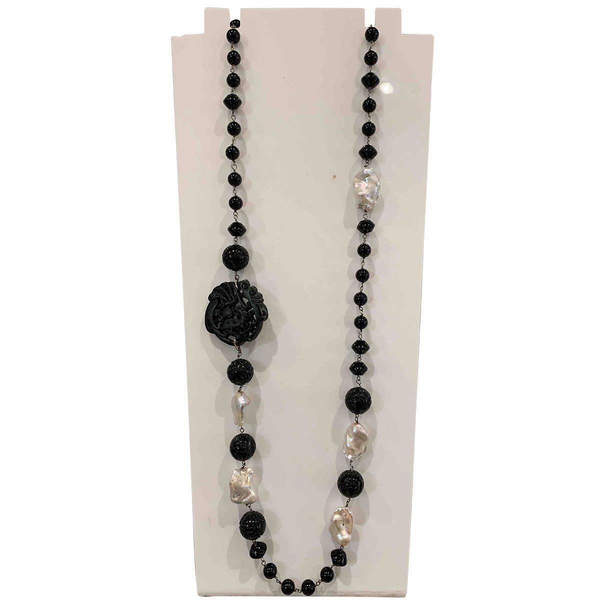 - Collier Onyx pour femme en perles - noir