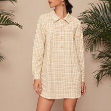 Vestido recto tweed de cuadros con boton