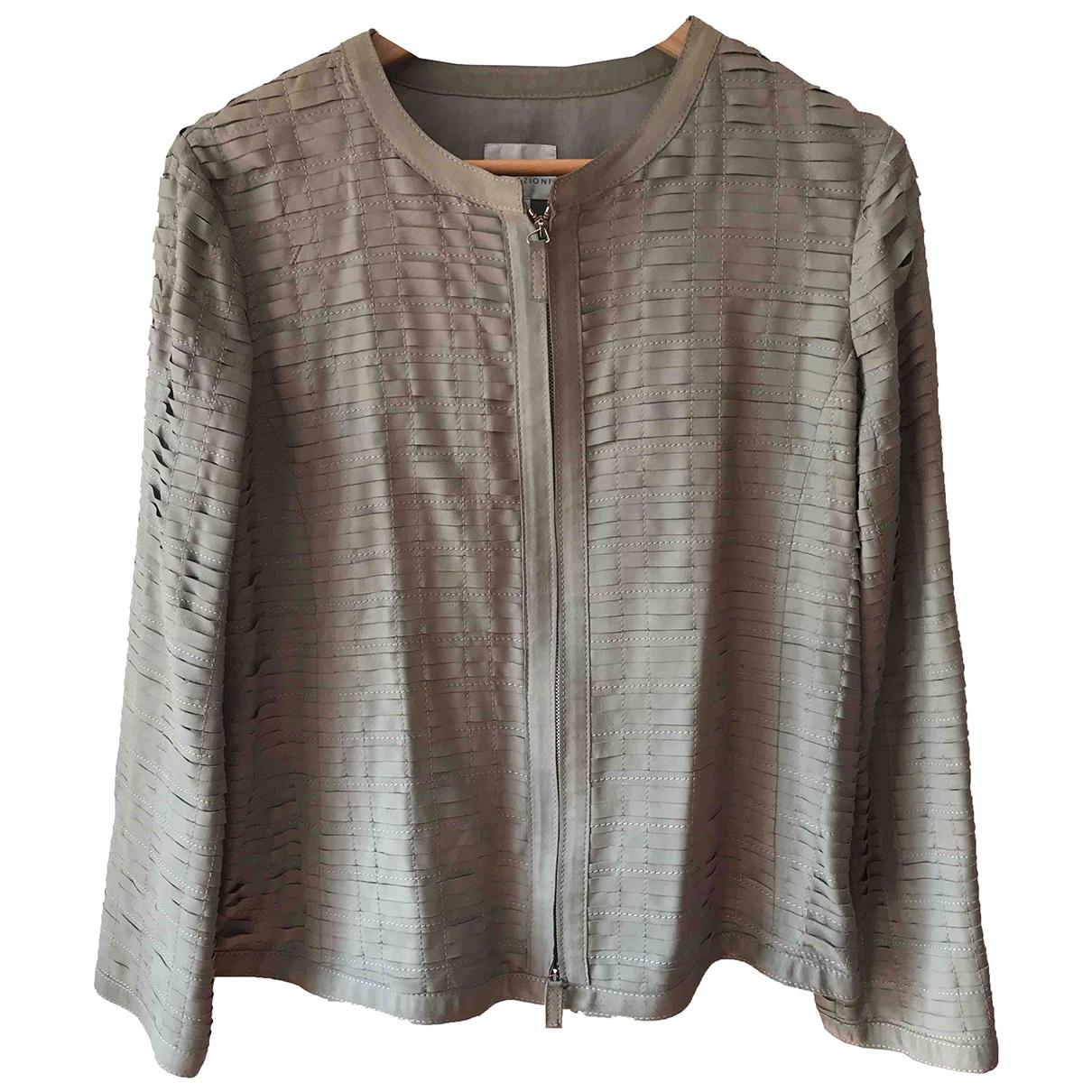 Armani Collezioni \N Ecru Leather jacket for Women 48 IT