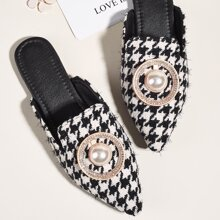 Faux Pearl & Rhinestone Decor Houndstooth Mules