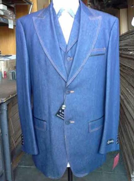 Mens Denim Blue Vested Suit 2 Buttons Pleated Pants
