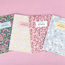 1 Stueck Zufaelliges Notizbuch mit Blumen Muster Decke