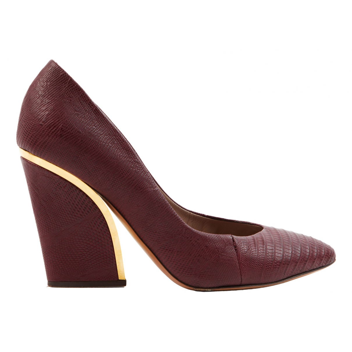Chloé N Burgundy Leather Heels for Women 38.5 EU