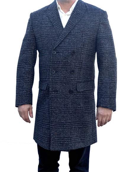 Mens Mantoni Charcoal Grey Plaid ~ Window Pane Overcoat ~ Topcoat Wool