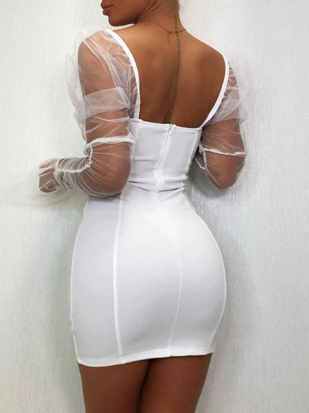 Milanoo Club Dress For Women Strapless Sexy Long Sleeves Tulle White Sexy Dress