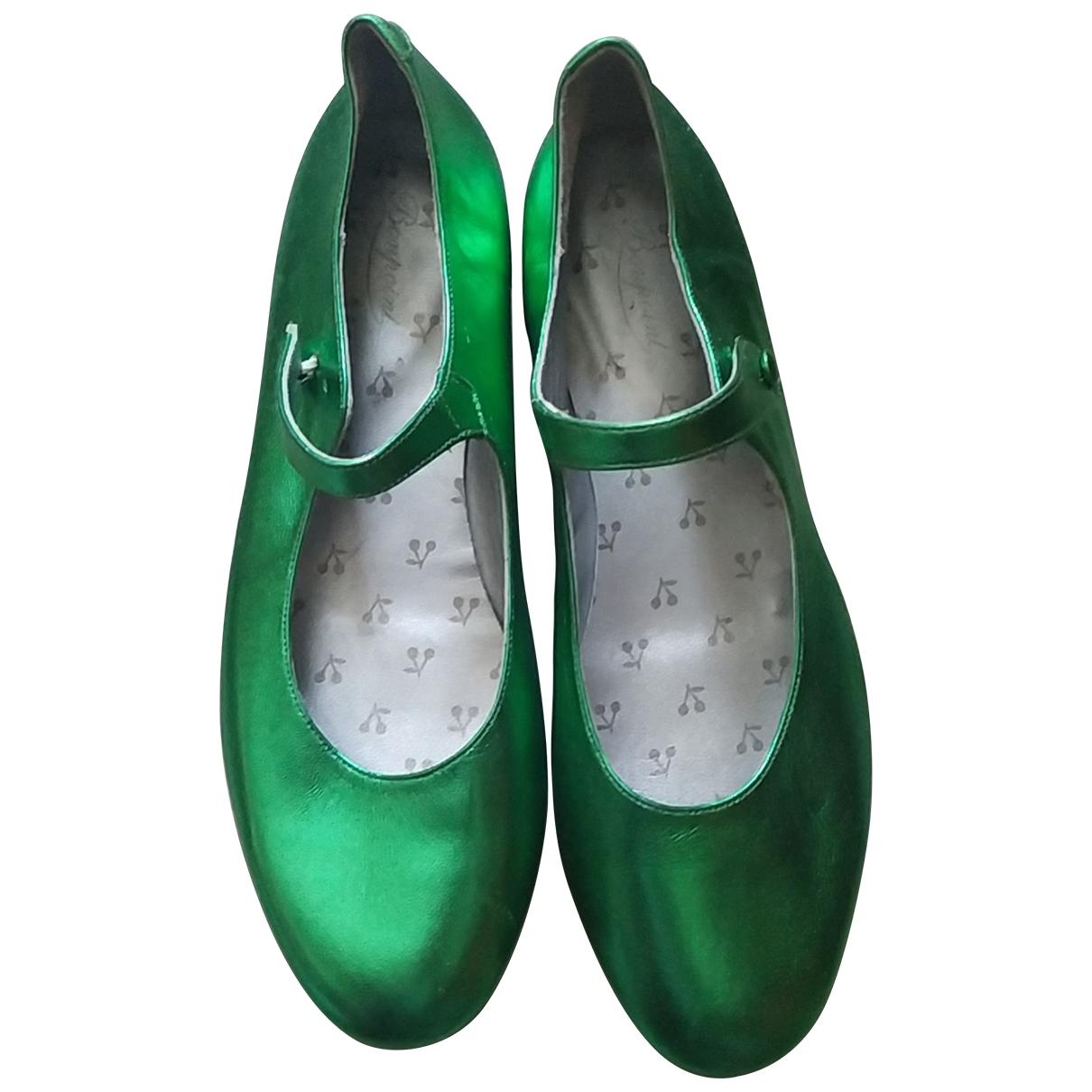 Bonpoint - Ballerines   pour enfant en cuir - vert
