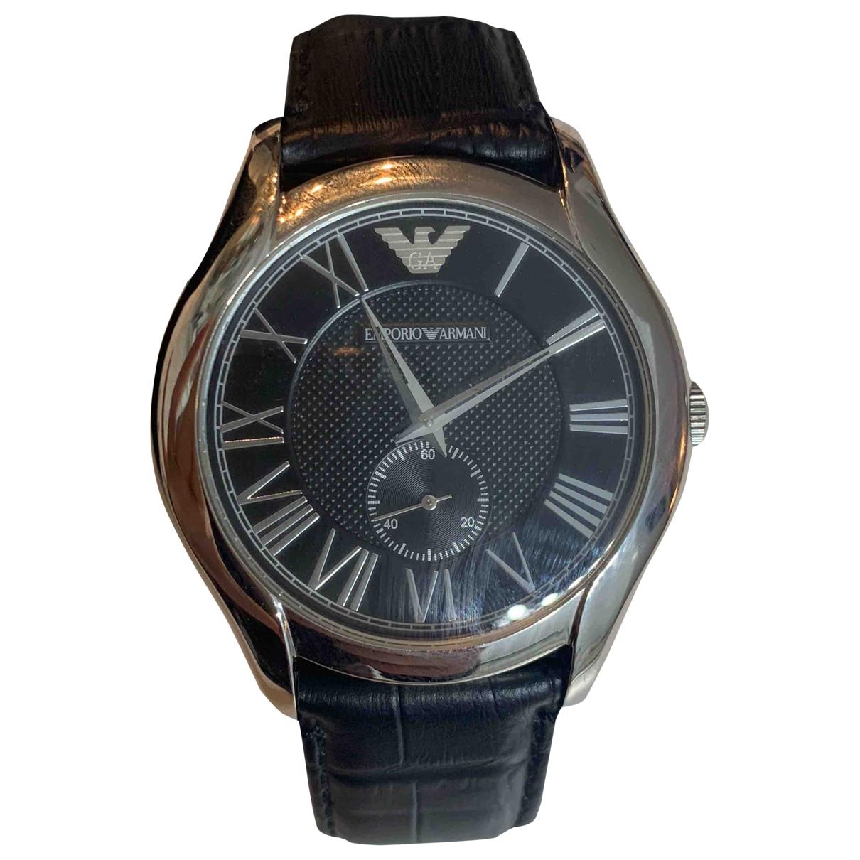 Emporio Armani \N Uhr in  Schwarz Stahl