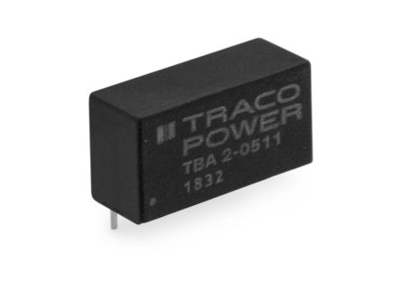 TRACOPOWER TBA 2 2W Isolated DC-DC Converter Through Hole, Voltage in 21.6 → 26.4 V dc, Voltage out 15V dc
