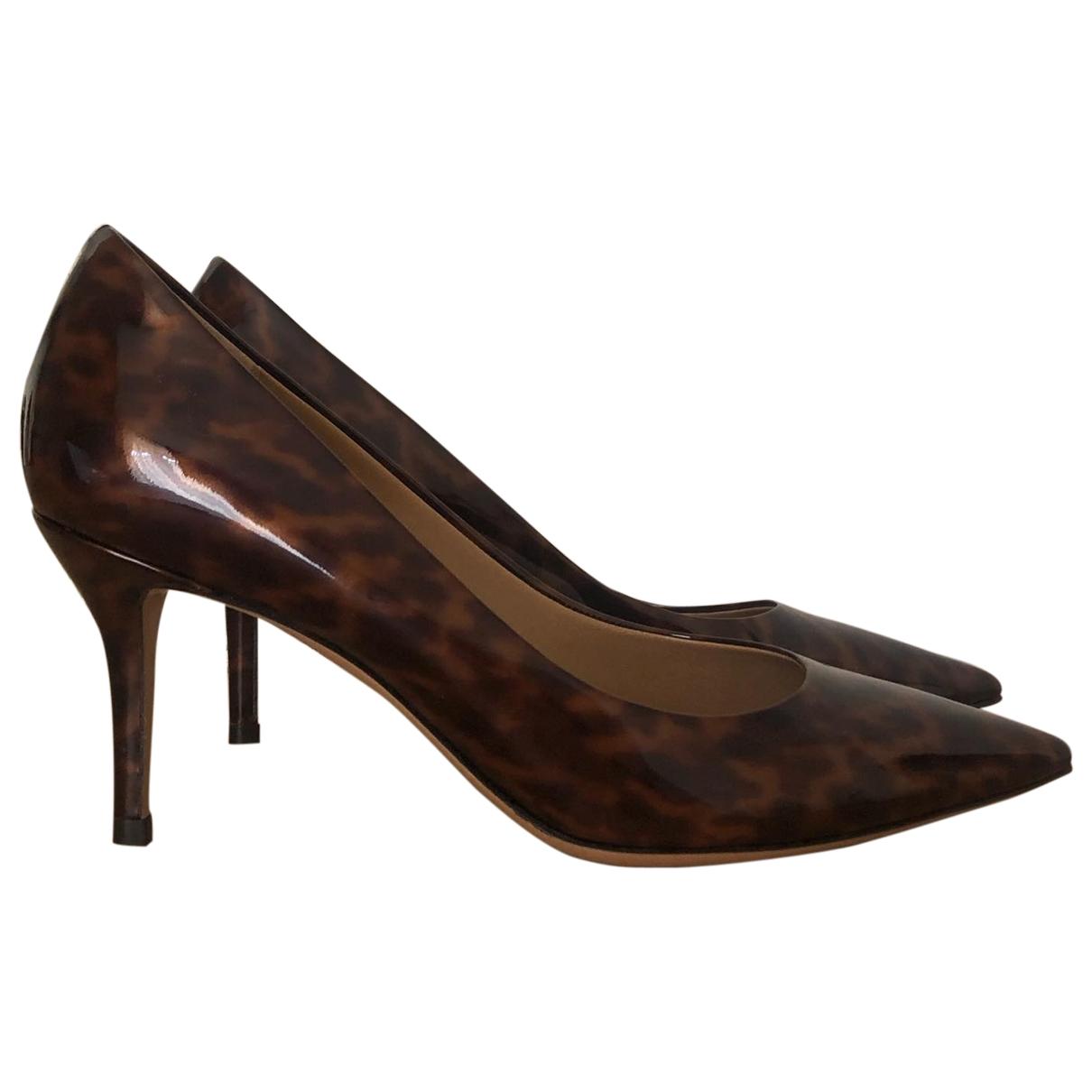 Salvatore Ferragamo \N Brown Patent leather Heels for Women 36.5 EU