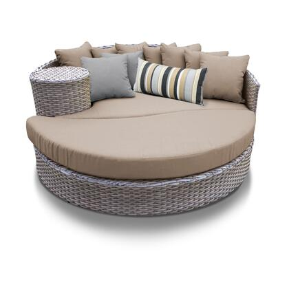 OASIS-WHEAT Oasis Circular Sun Bed - Outdoor Wicker Patio Furniture with 2 Covers: Grey and