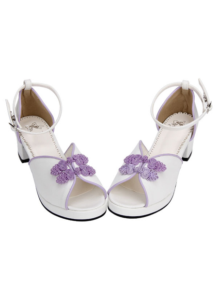 Milanoo Sweet Lolita Shoes Chinese Style White Peep Toe Ankle Strap Heeled Lolita Sandals
