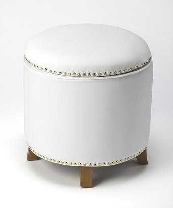 Yara Collection 4488288 Storage Ottoman with Urethane Foam  Transitional Style  Round Shape  Pine Wood and Velvet Uphlostery in White
