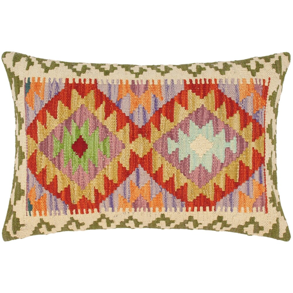 Bohemian Janey Hand Woven Turkish Kilim Throw Pillow 21 in x 16 in (Accent - 21 in.x 16 in. - Polyester - Rust - Single)