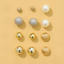 6pairs Faux Pearl Stud Earrings