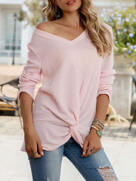 Milanoo Camisetas de manga larga para mujer Camiseta de acrilico transparente con cuello en V anudado rosa para mujer