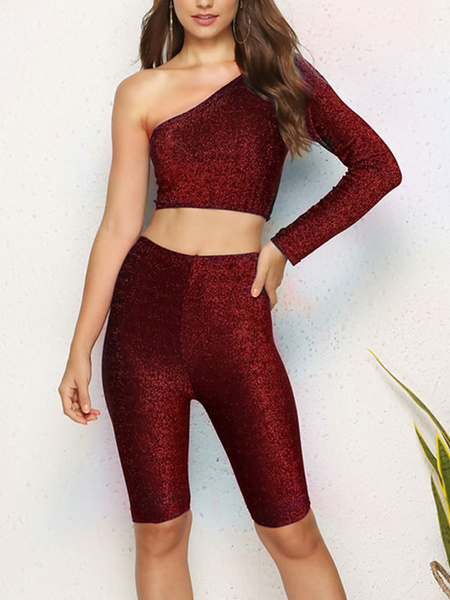 Milanoo Two Piece Tracksuit Workout One Shoulder Outfit For Women