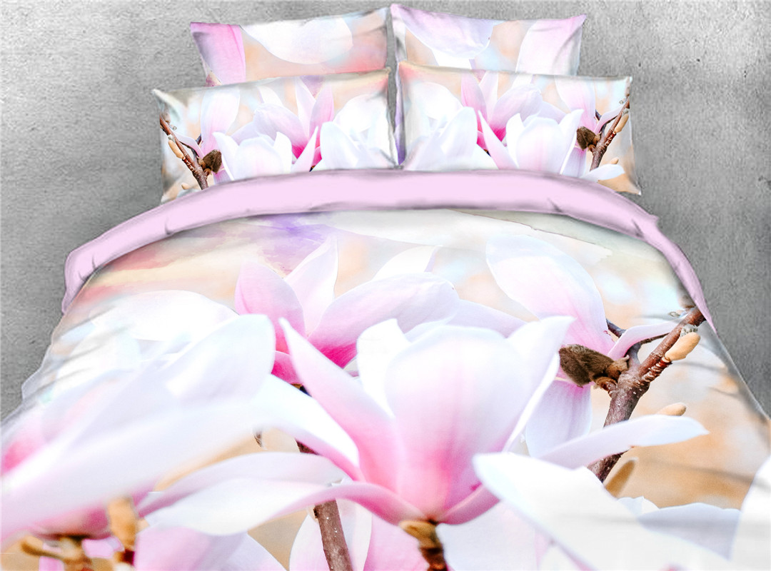 Magnolia in Full Bloom Reactive Printing 3D 5-Piece Comforter Sets