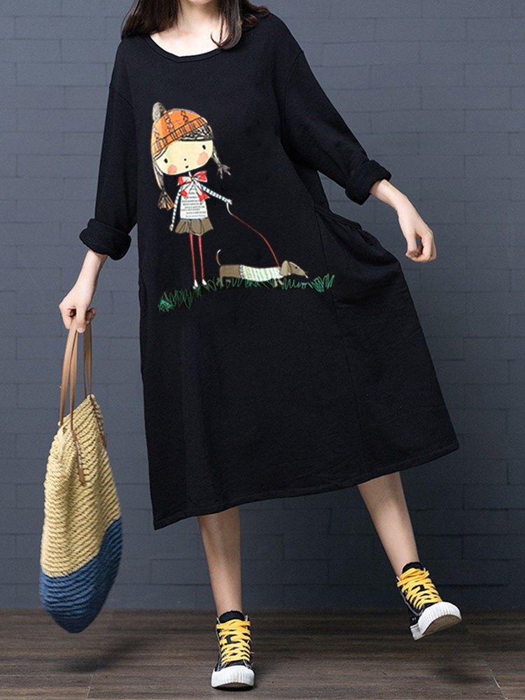 Cotton Cartoon Printed Long Sleeve Pullover Dress with Pockets