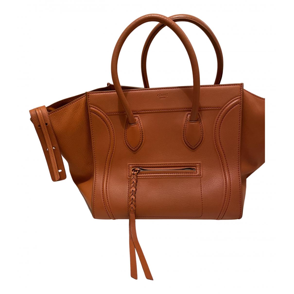 Celine Luggage Phantom Handtasche in  Orange Leder