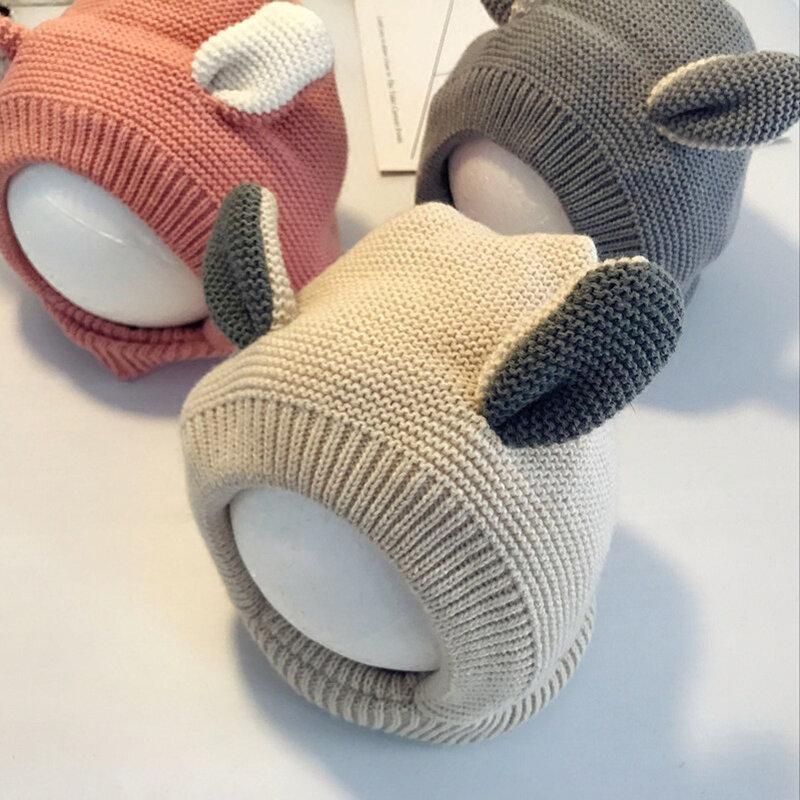 0-3 Years Cute Rabbit Ear Shaped Kids Winter Warm Fleece Inside Knitted Hat Scarves