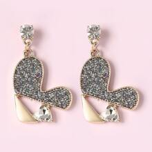 Rhinestone Heart Drop Earrings