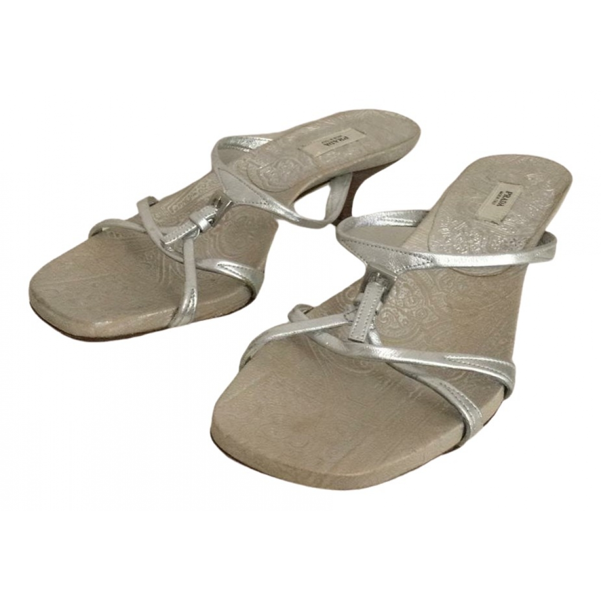 Prada \N Silver Leather Sandals for Women 35 IT