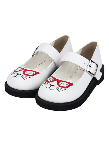 Milanoo Sweet Lolita Shoes Cat Print Buckle Round Toe White Lolita Footwear