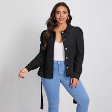 Einreihige Jacke mit Taschen vorn und Selbstguertel