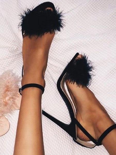 Milanoo High Heel Sandals Black Furry Open Toe Ankle Strap High Heels Womens Stiletto Heel Sandals