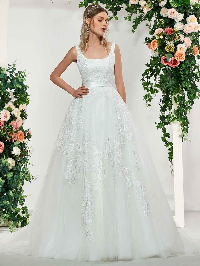 Ericdress Square Neck Lace Appliques Wedding Dress
